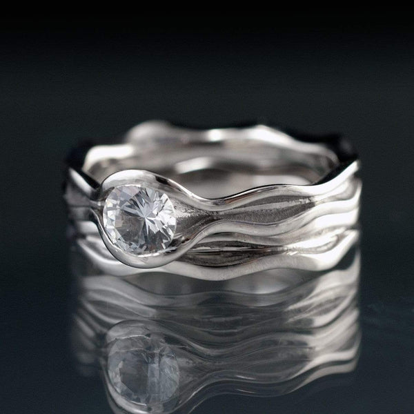 Wave White Sapphire Ring Bridal Set