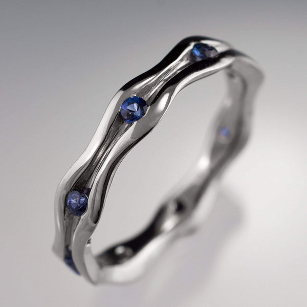 Wave Sapphire Eternity Wedding Ring - by Nodeform