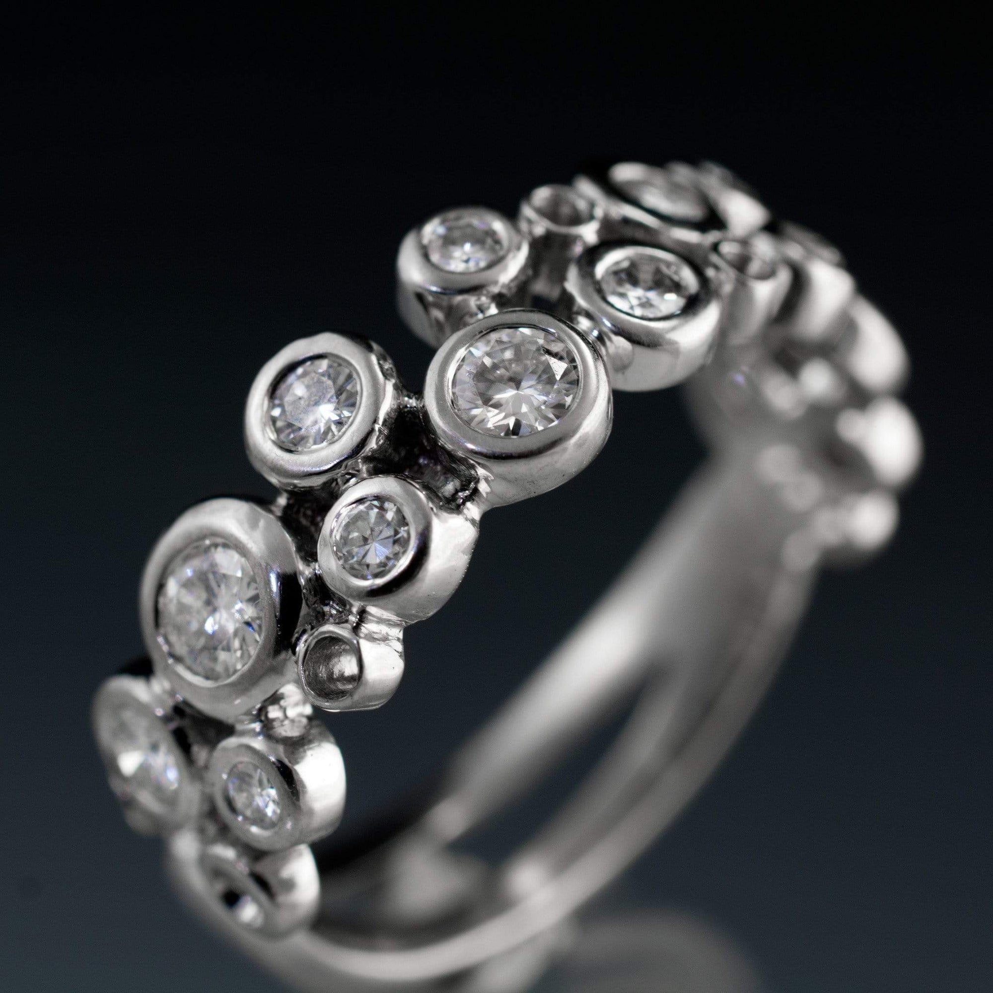 Cluster Round Moissanite Wedding Ring, Sparkly Bubble Half Eternity Band - by Nodeform