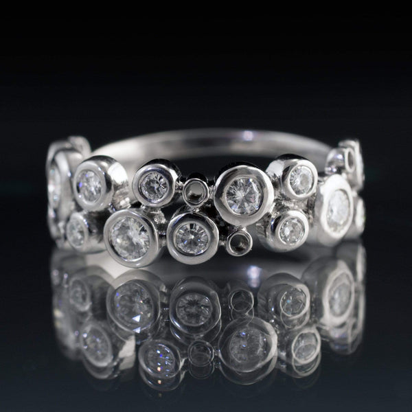 Cluster Round Moissanite Wedding Ring, Sparkly Bubble Half Eternity Band
