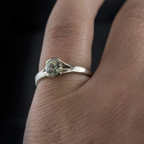 Round Fair Trade Creamy White Montana Sapphire Fold Engagement Ring