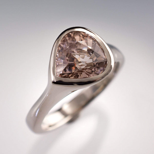 Large Pear Pink Morganite Tear Drop Bezel Solitaire Engagement Ring - by Nodeform