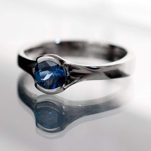 Round Fair Trade Blue / Green Sapphire Fold Engagement Ring - by Nodeform