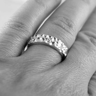 Crater Texture Wedding Rings, Set of 2 Bands - by Nodeform