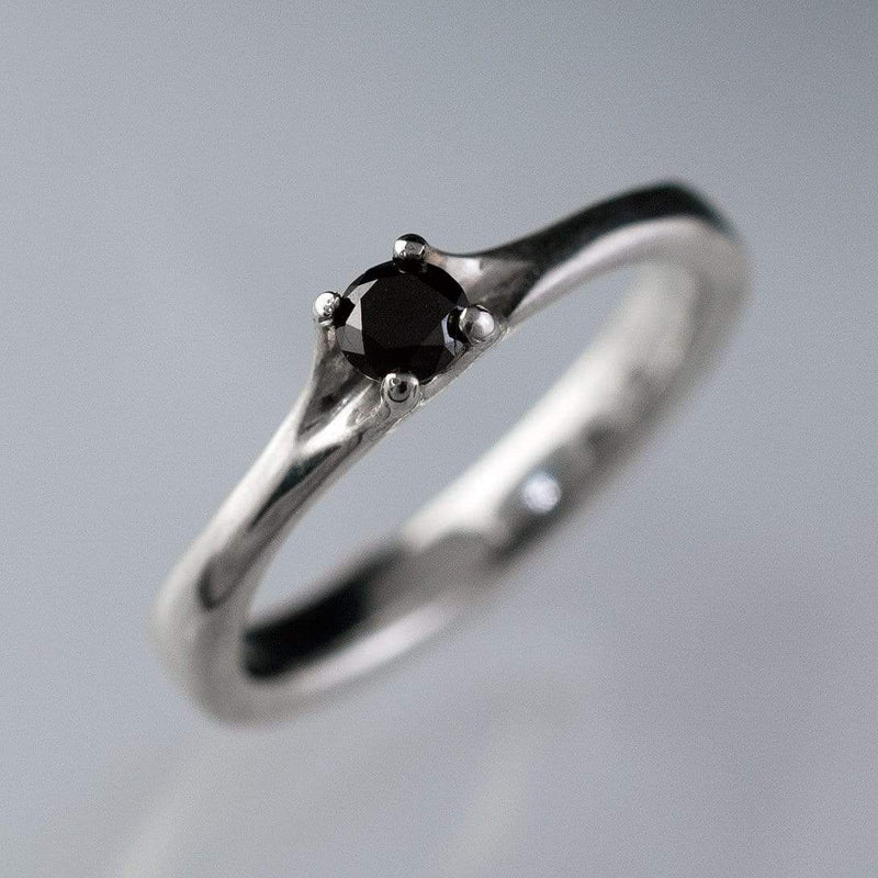 Black Diamond Prong Set Solitaire Engagement Ring - by Nodeform