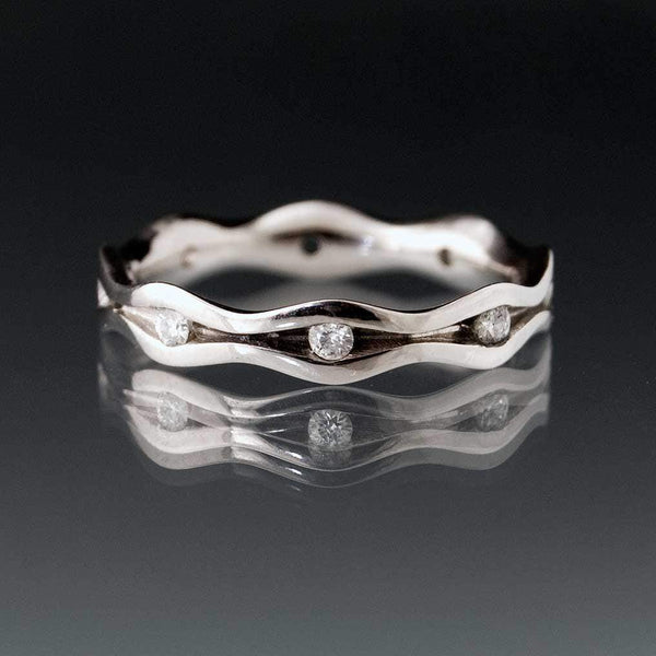 Wave White Sapphire Eternity Wedding Ring - by Nodeform