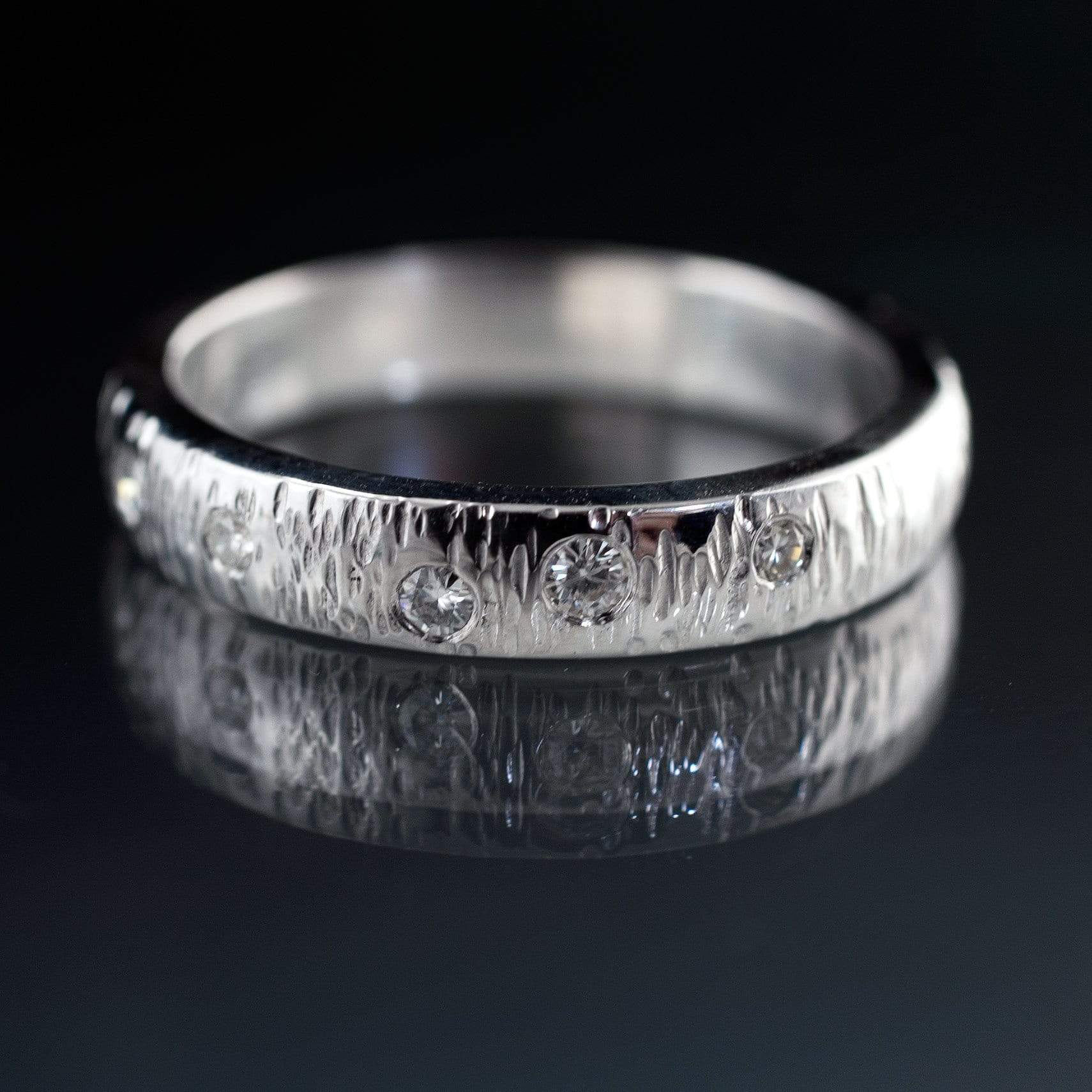 Moissanite Textured Wedding Band with Hammered Texture and Flush Set Moissanites - by Nodeform