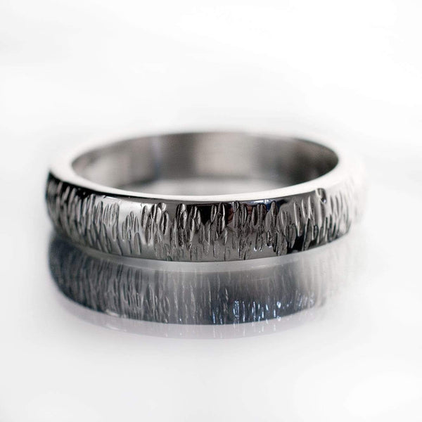 Textured Wedding Band with Hammered Line Texture - by Nodeform