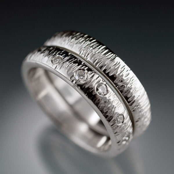 Textured Wedding Bands with Hammered Texture and Flush Set Moissanites - by Nodeform