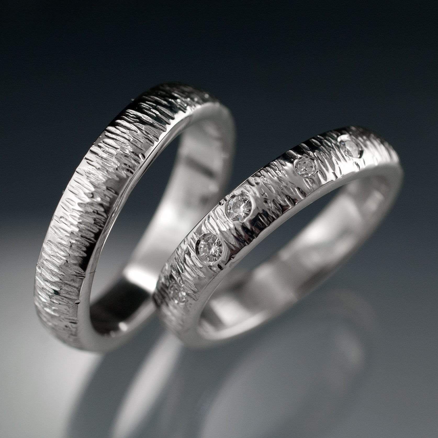 Textured Wedding Bands with Hammered Texture and Flush Set Moissanites