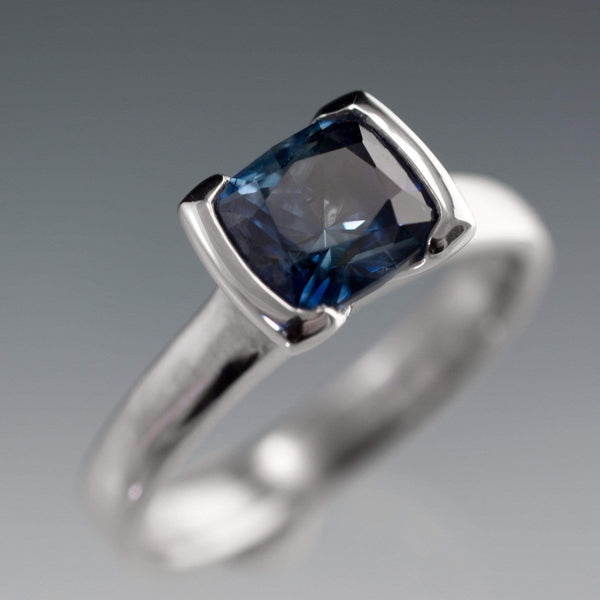 Blue Columbian Cushion Sapphire engagement ring