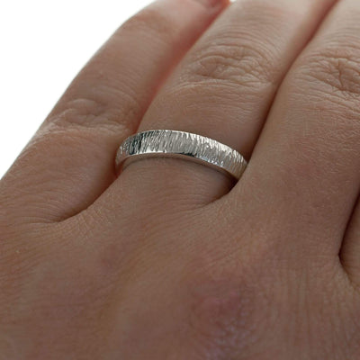 Textured Wedding Band with Hammered Line Texture