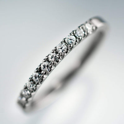 Narrow Moissanite Pave Stacking Ring Palladium Wedding Band, size 6 to 7