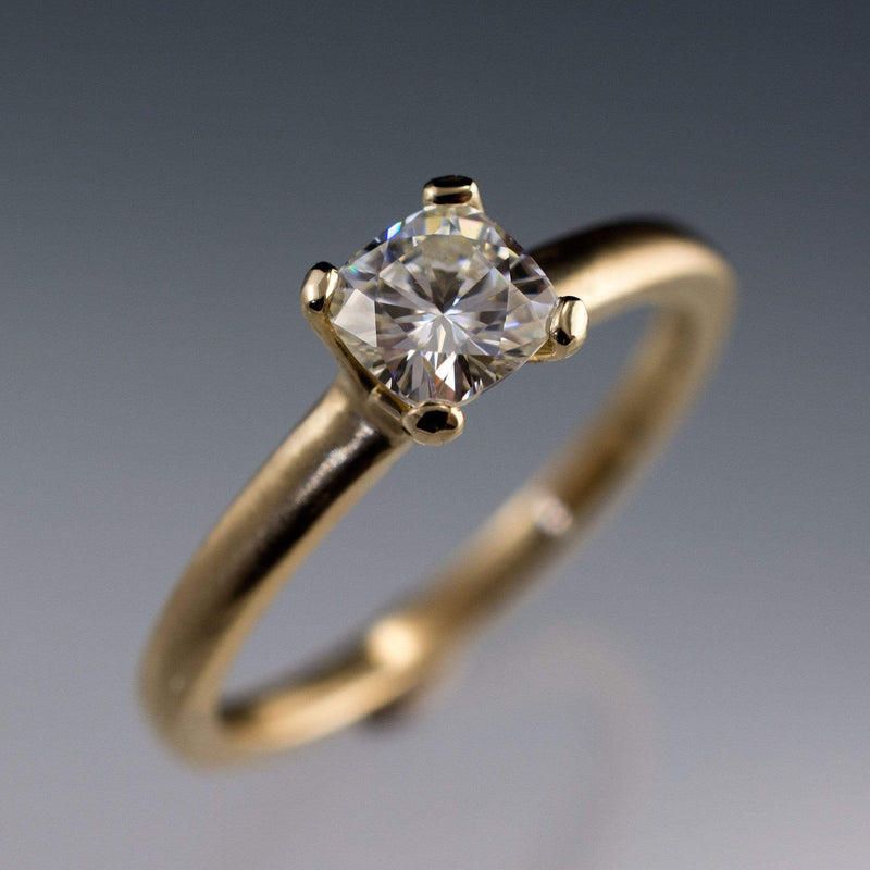Cushion Moissanite Prong Solitaire Engagement Ring - by Nodeform