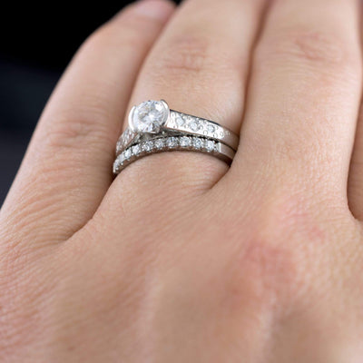 Narrow Moissanite Pave Stacking Ring Palladium Wedding Band, size 6 to 7 - by Nodeform