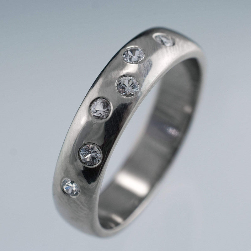 Random  White Sapphire Wedding Ring - by Nodeform