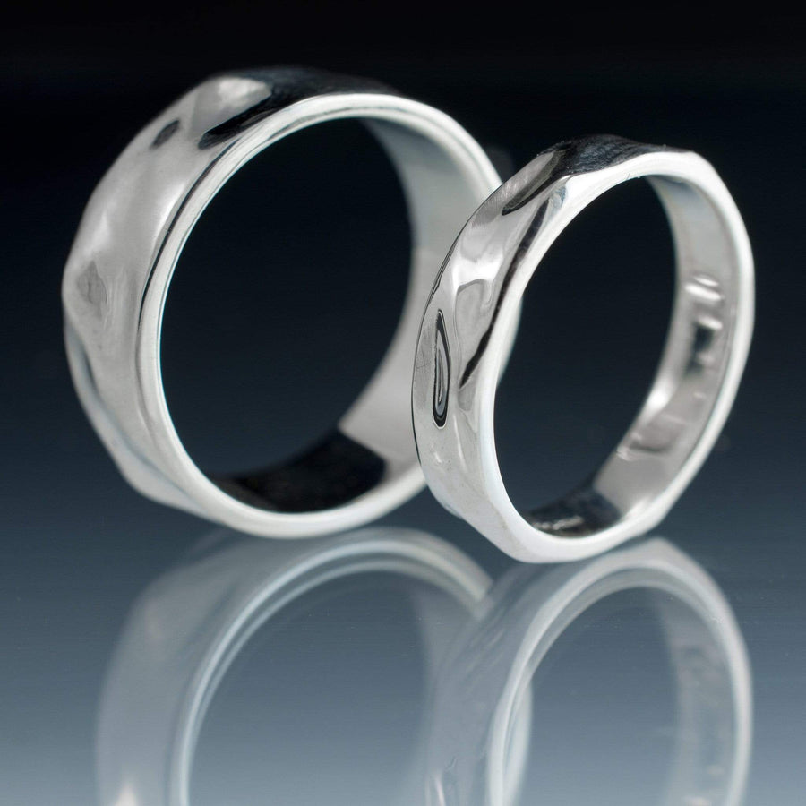 Wrinkle Texture Wedding Bands, Set of 2 Rings