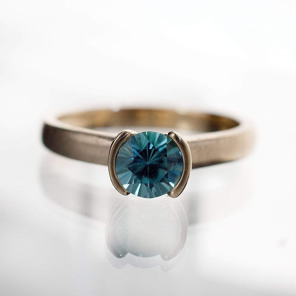 Blue Zircon Half Bezel Gold Solitaire Engagement Ring - by Nodeform