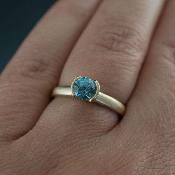 Blue Zircon Half Bezel Gold Solitaire Engagement Ring