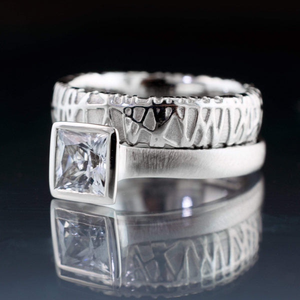 Bridal Set Princess White Sapphire Engagement Ring and Woven Wedding Band