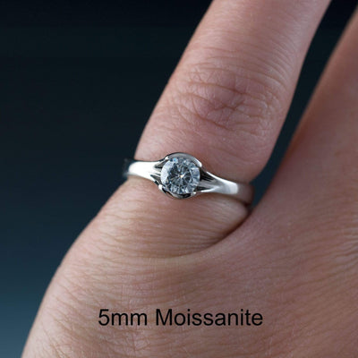 Bridal Set Round Moissanite Fold Semi-Bezel Set Solitaire Engagement Ring and Wedding Band