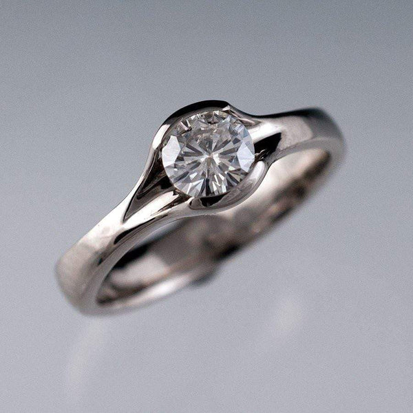 Diamond Fold Semi-Bezel Set Solitaire Engagement Ring