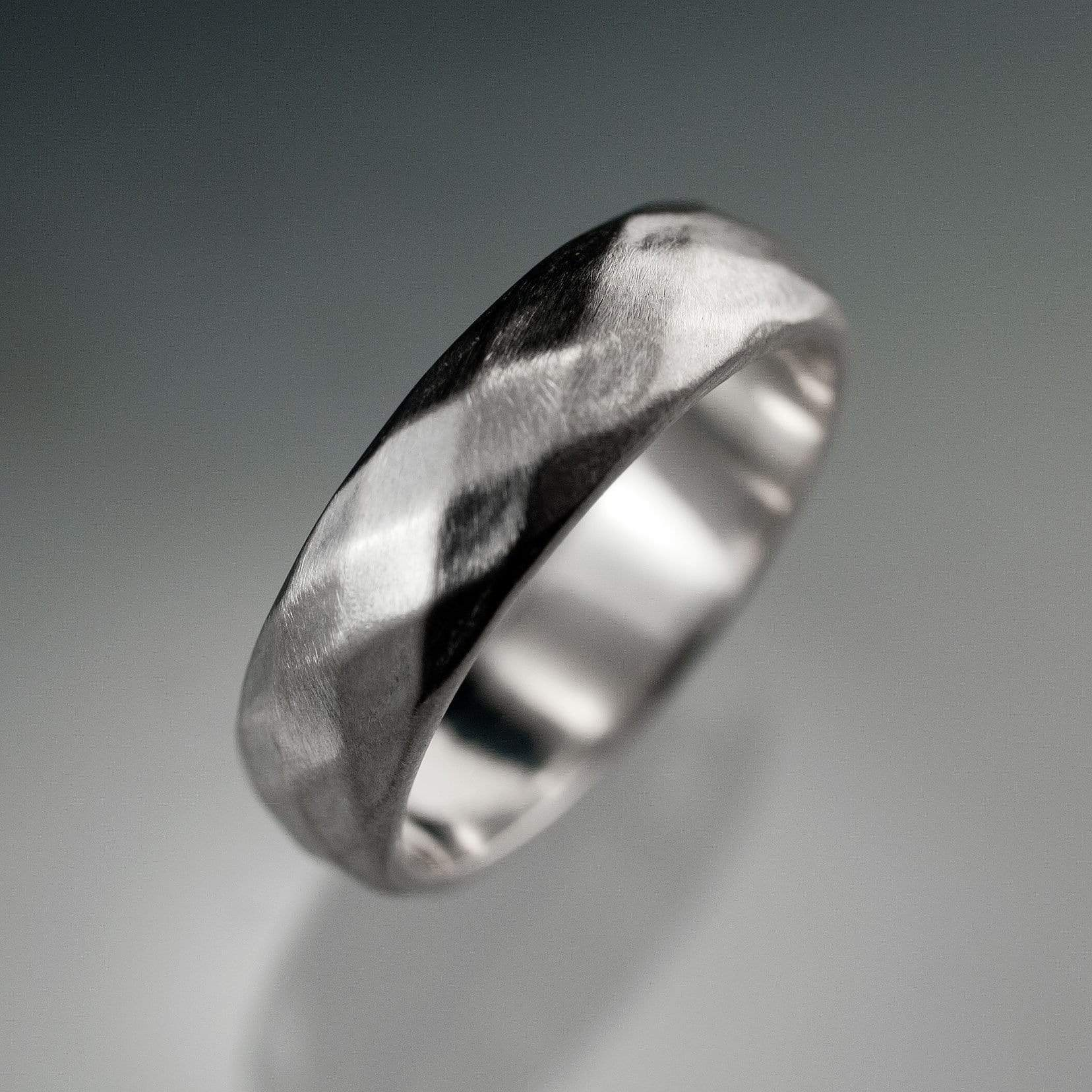 Wide Diamond Facet Texture Wedding Band - by Nodeform