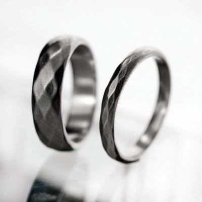 Diamond Facet Texture Wedding Bands, Set of 2 Wedding Rings - by Nodeform