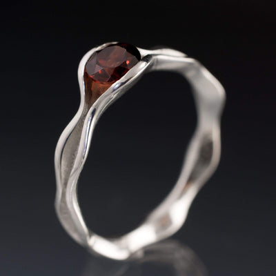 Wave Garnet Engagement Ring Bridal Set