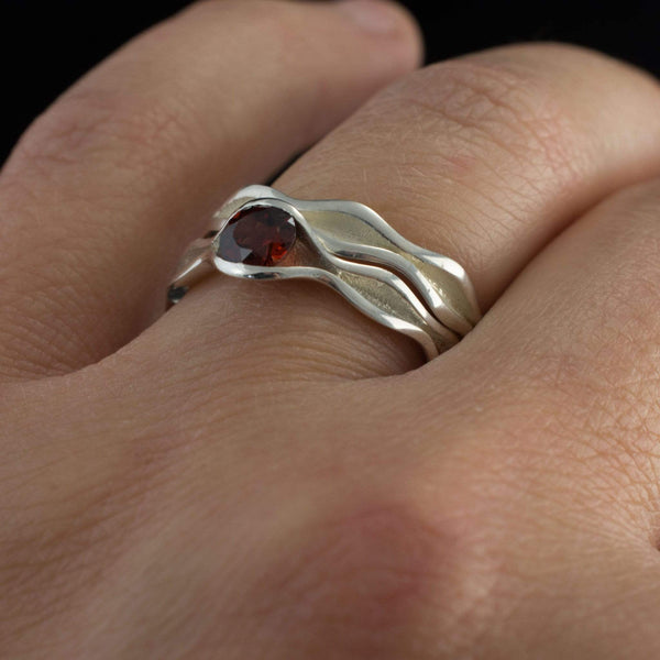 Wave Garnet Engagement Ring Bridal Set - by Nodeform