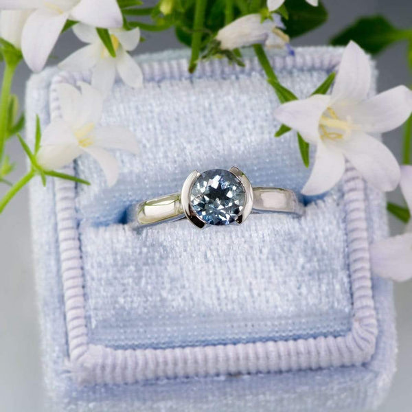 Pastel Blue to Green Eldorado Bar Montana Sapphire Cathedral Half Bezel Engagement Ring