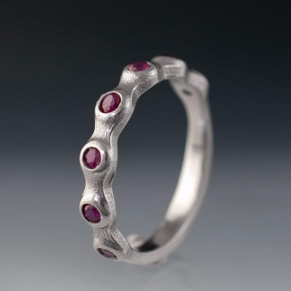Ruby Half Eternity Engagement Ring or Wedding Ring