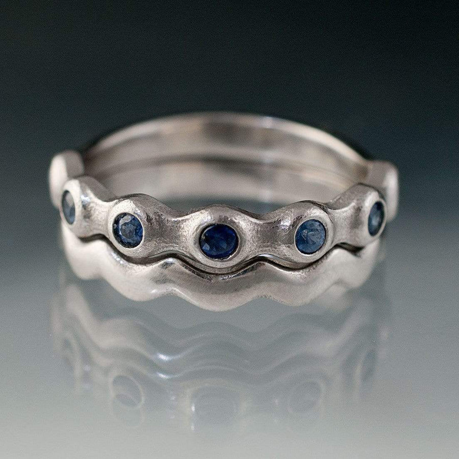Sapphire Half Eternity Bridal Set Wedding Rings - by Nodeform