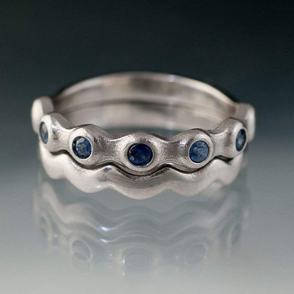 Sapphire Half Eternity Bridal Set Wedding Rings