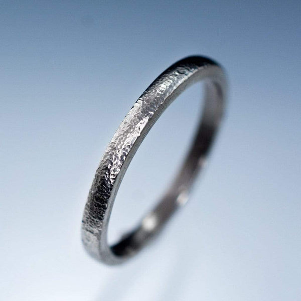 Narrow Fine Hammer Texture Wedding Ring Band