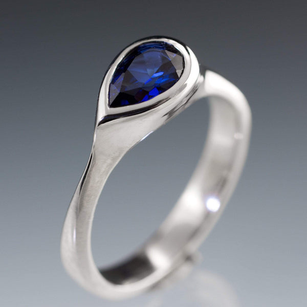 Lab Created Pear Blue Sapphire Tear Drop Bezel Engagement Ring