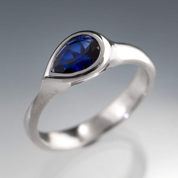 Pear Genuine Blue Sapphire Tear Drop Bezel Engagement Ring - by Nodeform