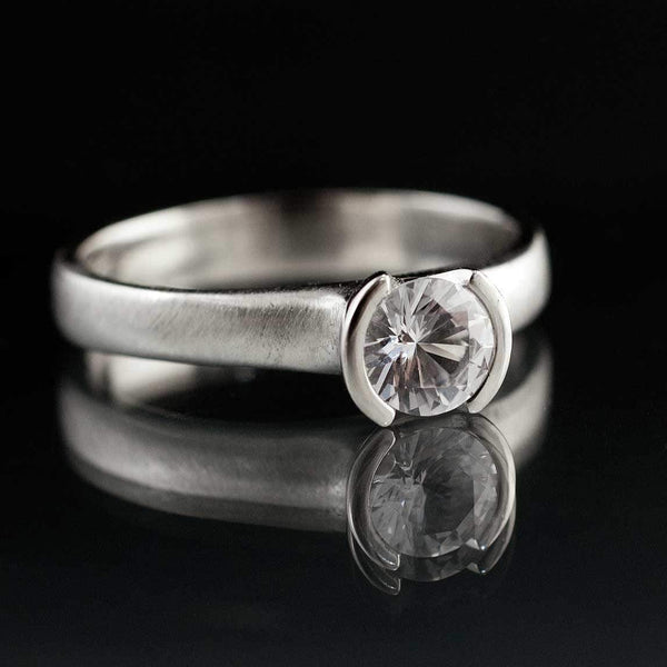 Round White Sapphire Half Bezel Solitaire Engagement Ring - by Nodeform