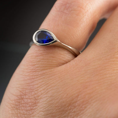 Lab Created Pear Blue Sapphire Tear Drop Bezel Engagement Ring - by Nodeform