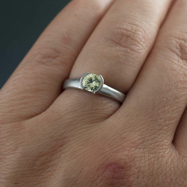 Creamy White to Pale Green Fair Trade Montana Sapphire Half Bezel Solitaire Engagement Ring