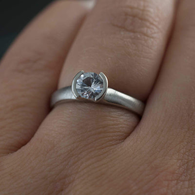 Round White Sapphire Half Bezel Solitaire Engagement Ring