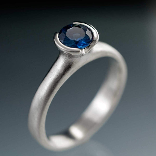 Round Fair Trade Blue / Green Malawi Sapphire Half Bezel Solitaire Engagement Ring