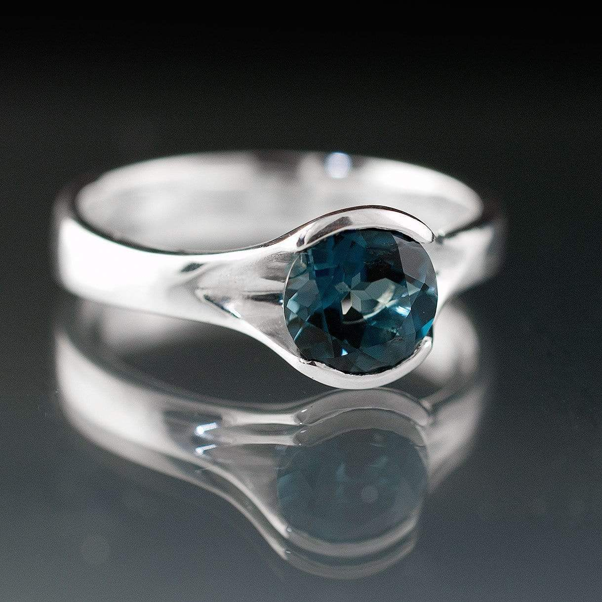 London Blue Topaz Fold Cocktail Statement Ring - by Nodeform