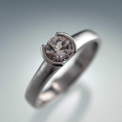 Round  Morganite Ring Half Bezel Solitaire Engagement Ring