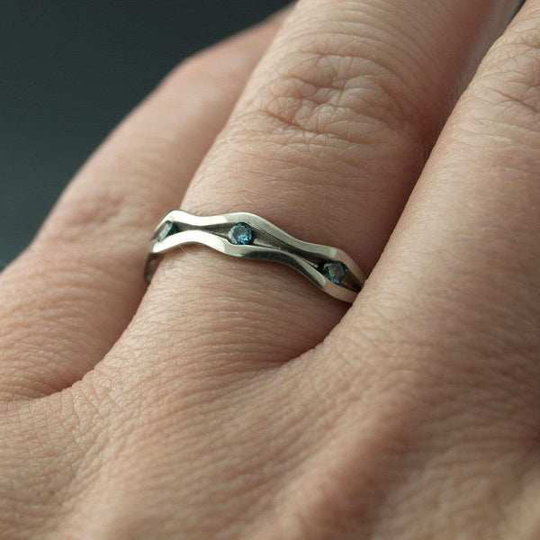 Wave Teal Blue Diamond Eternity Wedding Ring