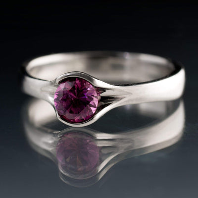 Round Fair Trade Purple to Grape Sapphire Fold Engagement Ring - by Nodeform