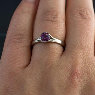 Round Fair Trade Purple to Grape Sapphire Fold Solitaire Engagement Ring