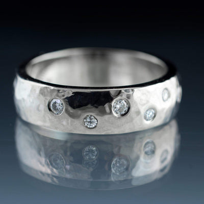 Moissanite Wedding Ring, Random Moissanite Flush Set Band - by Nodeform