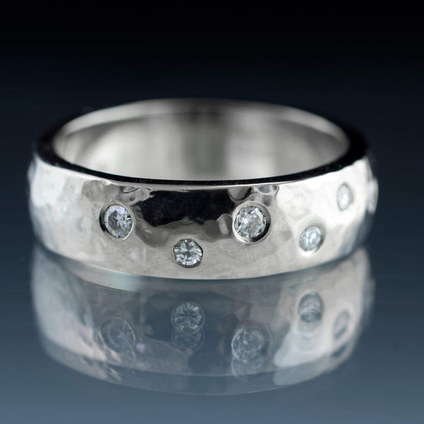 Hammered  Random Moissanite Flush Set Wedding Ring