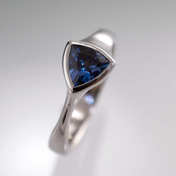 Trillion Genuine Blue Sapphire Bezel Solitaire Engagement Ring - by Nodeform